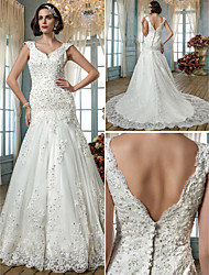 Lan Ting Trumpet/Mermaid Plus Sizes Wedding Dress - Ivory Court Train Queen Anne Tulle