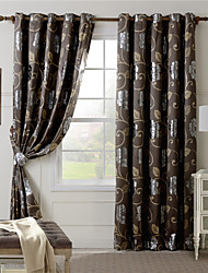 One Panel Coffee Floral Jacquard Curtain