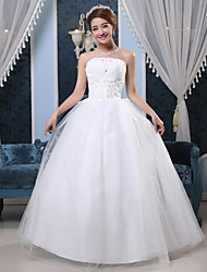 Ball Gown Wedding Dress - White Floor-length Strapless Organza / Tulle