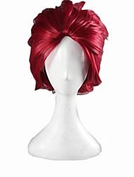 Angelaicos Unisex Akuma No Riddle Namatame Chitaru Short Wine Red Layered Halloween Party Cosplay Costume Synthetic Wig