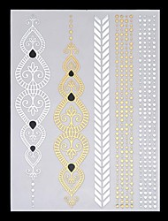 6PCS New Temporary Tattoos Metallic Gold Tattoos Flash Tattoos Rose Indian Totem Wedding Party Tattoos