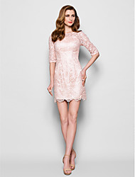 Lanting Bride® Sheath / Column Plus Size / Petite Mother of the Bride Dress Short / Mini Half Sleeve Lace with