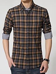 Men's Long Sleeve Shirt , Cotton Casual/Plus Sizes Plaids & Checks