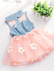 Vestido Chica de - Verano - Denim/Organza - Manga Corta