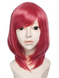 Angelaicos Womens Lolita Girls Medium Rose Red Anime Halloween Party Cosplay Wig for Lovelive Nishikino Maki