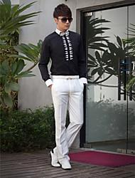 Shirts Classic (Semi-Spread) Long Sleeve Cotton/Polyester Patterns Dark Navy