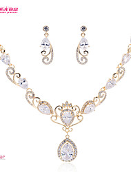Women's /Pageant/Wedding European Neoglory Jewelry Necklace Earring Set with Drop CZ Zirconia (More Color)