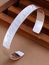 Unisex Armbänder Breiter Armreif Silber