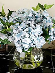 cinco hygrangeas azuis artificiais flores com vaso