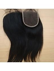 """16 """"brésilien fermeture de cheveux vierges partie libre de style 3,5"""" x4 """"couleur naturelle des morceaux de cheveux droites fermeture à"""