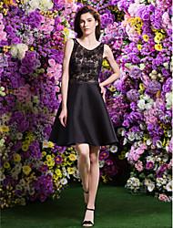 Vestido de Madrinha - preto Linha-A/Princesa U profundo Coquetel Renda/Cetim