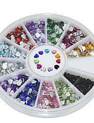 600Pcs 12 color 2mm Love Acrylic Diamond  Nail Art  Decoration kits