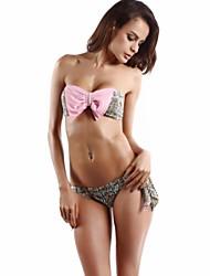 nuevo estilo floral bowknots rosa bikini conjunto.