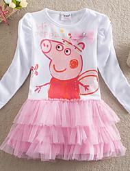 Girl's Spring Cartoon Cute Long Sleeve Dresses (Cotton/Mesh)