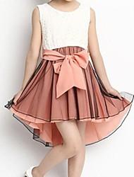 Girl's Summer Inelastic Opaque/Thin Sleeveless Dresses (Chiffon/Cotton Blends)