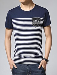 deportiva de manga corta camiseta a rayas de los hombres