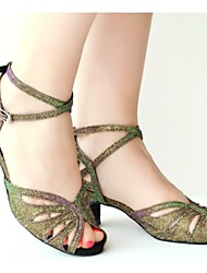 Customizable Women's Dance Shoes Latin  Green/Purple