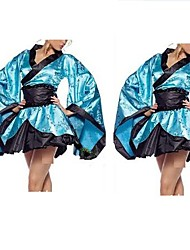Naughty Polyester Blue Bag-Sleeve Kimono Coat Women's Costume