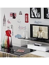 parede adesivos de parede decalques, estilo londres torre de escritórios em pvc adesivos de parede