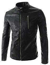 Men's leisure PU leather collar zipper decoration