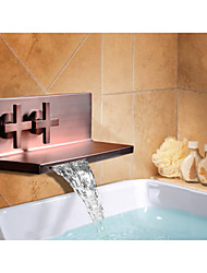 Two Handle Oil Rubbed Bronze Waterfall Wall Mount Bathroom Bath Basin Sink Faucet Tap