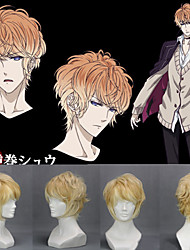Angelaicos Men Diabolik Lovers Sakamaki Shu Boys Layered Curly Yellow Short Halloween Costume Party Cosplay Wigs