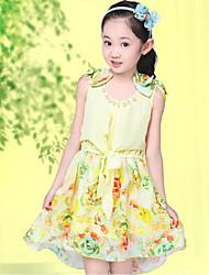 Girl's  Print Stepped Hem Sleeveless Pearl Dresses