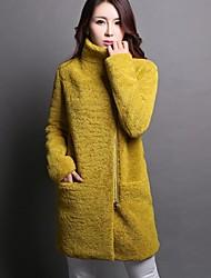 Women's Blue/Black/Yellow Coat , Casual/Party Long Sleeve Wool