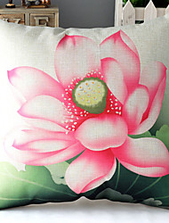 Chinese Painting Pink Lotus Patterned Cotton/Linen Decorative Pillow Cover
