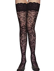 Women Sexy Lace Thin Plant Flowers Pattern Stockings