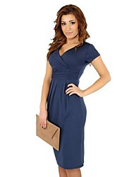 Women's Casual Stretchy Short Sleeve Dress (Knitwear)