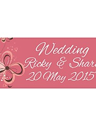 Personalized Wedding Product Labels Flower Pattern Pink Film Paper