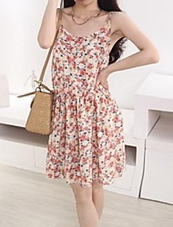 Women's Cute Sexy Beach Floral Sleeveless Dresses