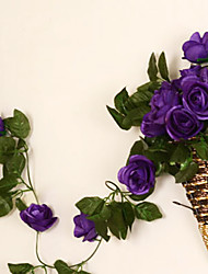 "95 ""l Satz 2 süße rosafarbene Blume Rattan Seidentuch Blumen lila"