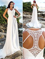 Lanting novia una línea petite / tallas grandes de la boda vestido-Corte de gasa con cuello en V