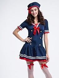 Women Polyester Dress+Hat Blue Women Navy Dancerwear