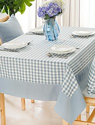 """Light Blue Small Plaid Square Table Cloth, Polyester 51""""x70"""", 55x94"""""""