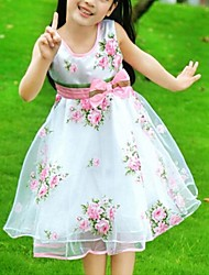 Girl's Summer Rose Sleeveless Princess Dresses with Belt