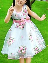 Menina de Vestido Floral Organza Verão Branco