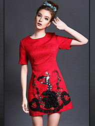 Spring 2015 New Fashion Embroidery Vintage Brand Design Women's Slim Short Sleeve Plus Size Dress