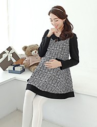 Women's Vintage/Print Micro-elastic Long Sleeve Long Maternity Blouse (Cotton)