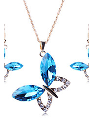 Jewelry Set AAA Cubic Zirconia Gemstone Simulated Diamond Alloy Statement Jewelry Fashion Luxury Jewelry White Red Blue Daily 1set1