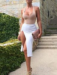 Robe Aux femmes Sexy , Mosaïque U Profond Asymétrique Mélanges de Coton
