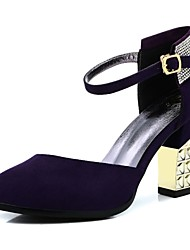 Women's Shoes Leather Chunky Heel Heels/Pointed Toe Pumps/Heels Dress Black/Navy
