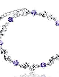 Women's Chain Bracelet Silver Cubic Zirconia