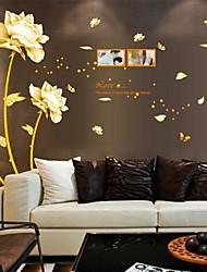 Wandaufkleber Wandtattoo goldenen Blumen abnehmbaren waschbaren pvc