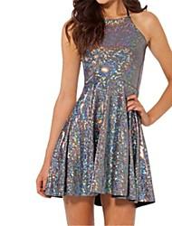 Women's Fashion Print Pleated Dress