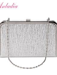 Anladia Shimmery PU Leather Polished Metal Frame Box Shape Clutch Evening Bag Cross Body