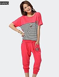 bs®women der runden Kragen Baumwolle lässige Streifen Zweiteiler (Hemd& schnittenen Hose)