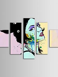iarts pintura a óleo pessoas modernas set cabeça fahsion senhora de 5 mão de lona, com quadro esticado pintados